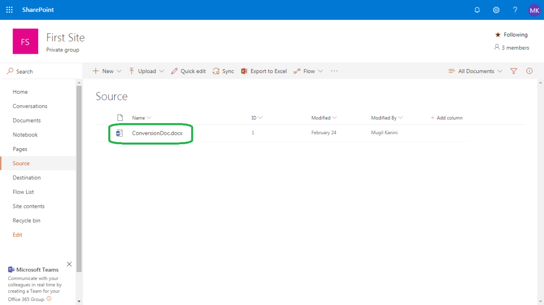 Graph API to convert Word Document into PDF from Sharepoint